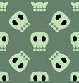 seamless dark pattern with skulls green background vector image vector image