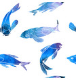 seamless pattern blue fishes koi carps vector image