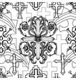 seamless pattern with black and white crosses vector image