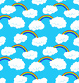 Seamless pattern with clouds and rainbow vector image vector image