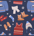 seamless pattern with knitted winter clothes on vector image