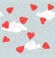 seamless valentine pattern heart paper airplanes vector image vector image