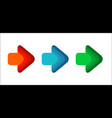 set arrow right line red green color blue round vector image vector image
