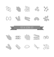 set of various pasta shapes vector image