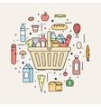 Shopping basket with food products from the store vector image
