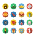 Sixteen Different Icons in a Flat Style vector image