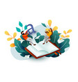 small reading people flying above book education vector image vector image
