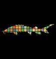 sturgeon fish mosaic silhouette aquatic animal vector image vector image