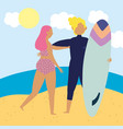 summer people activities couple with surfboard on vector image