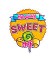sweet shop hand drawn logo design vector image