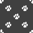 trace dogs icon sign Seamless pattern on a gray vector image