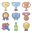 Trophy awards Lines and fill pastel colors icon vector image