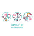 valentines day icons stamp sticker label vector image vector image