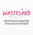 wasteland brush style font alphabet vector image vector image