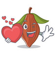 with heart cacao bean mascot cartoon vector image