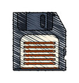 colorful crayon silhouette of floppy disk vector image