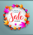sale lettering banner circle with maples vector image
