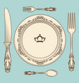vintage cutlery and plate vector image