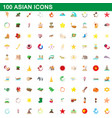100 asian icons set cartoon style vector image vector image