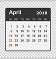 april 2018 calendar calendar planner design vector image vector image