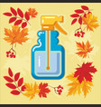 autumn agricultural icons with autumn leaves 10 vector image