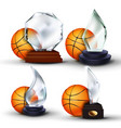 basketball game award set ball glass vector image vector image
