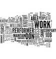 be a performer in you job text word cloud concept vector image vector image