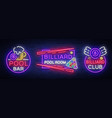 billiards set of neon signs collection design vector image