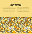 building construction concept with thin line icons vector image vector image