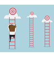 businessman climbing the ladder for target vector image