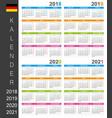 calendar 2018 2019 2020 2021 vector image vector image