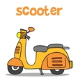 Cartoon of scooter with hand draw vector image vector image