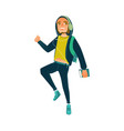 cartoon young teen man male student jumping vector image