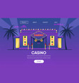 casino gambling house gold neon lights exterior vector image vector image