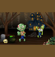 celebration two zombie outdoors with haunted house vector image