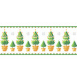 christmas trees in a pot with snowflakes pattern vector image vector image