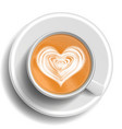 coffee art cup top view hot cappuccino vector image vector image