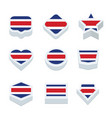 costa rica flags icons and button set nine styles vector image