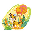cute cartoon tiger in autumn background vector image