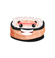 cute smiling sushi character roll with funny face vector image