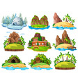 different buildings and things on islands vector image vector image