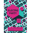 electro party poster with dj equipment on a vector image