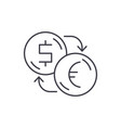 exchange of dollars for euros line icon concept vector image vector image