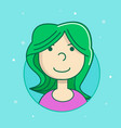 female user avatar icon of attractive girl face vector image vector image