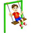 funny boy cartoon playing swing with laughing vector image