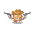 funny retro virus corona as a cowboy holding guns vector image vector image