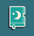 green holy book koran icon isolated on green vector image vector image
