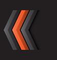 grey orange arrow 3d direction on black vector image