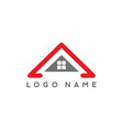 grey red rofor real estate logo vector image