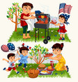 happy cartoon family having bbq outside set vector image vector image